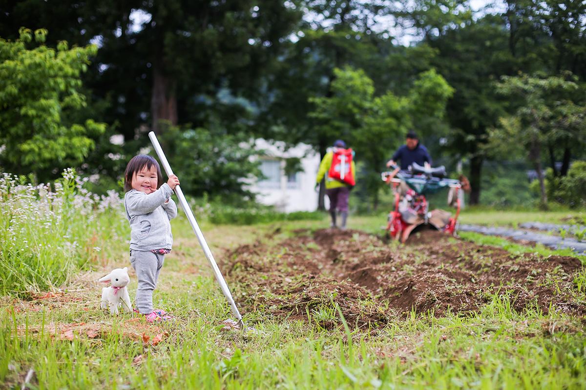 親子で畑仕事