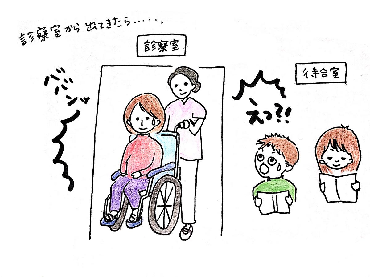 診察室から出てきたら車椅子に乗っているイラスト